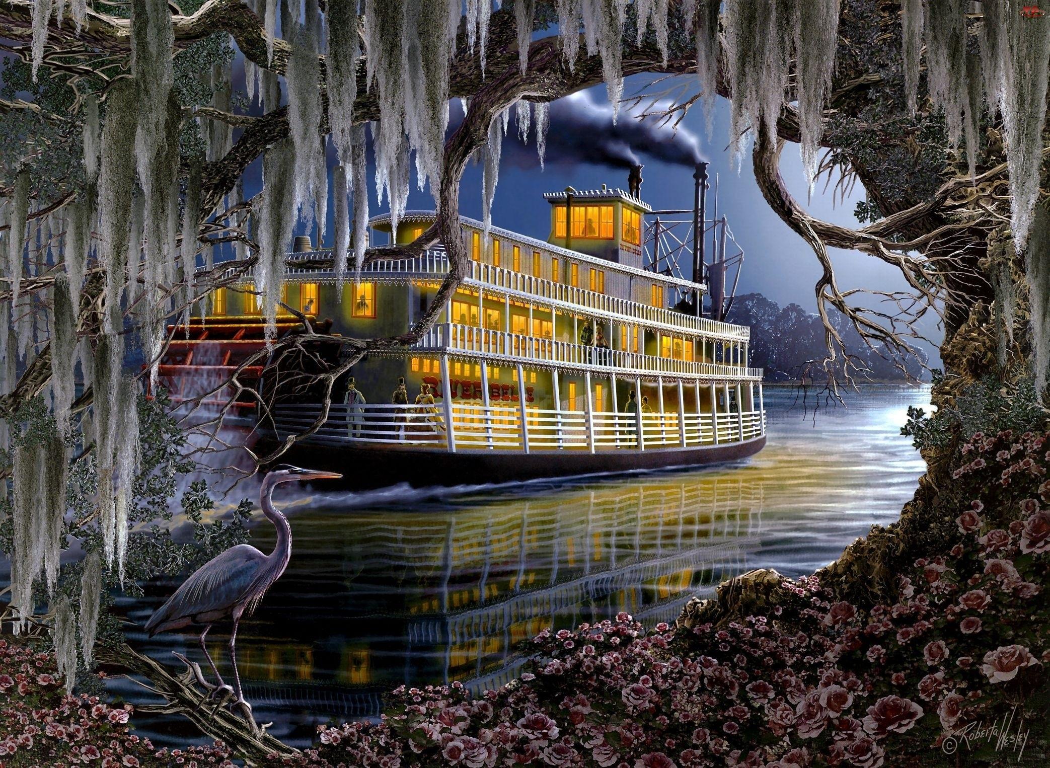 Woda, Obraz, Drzewo, Statek, Ptak