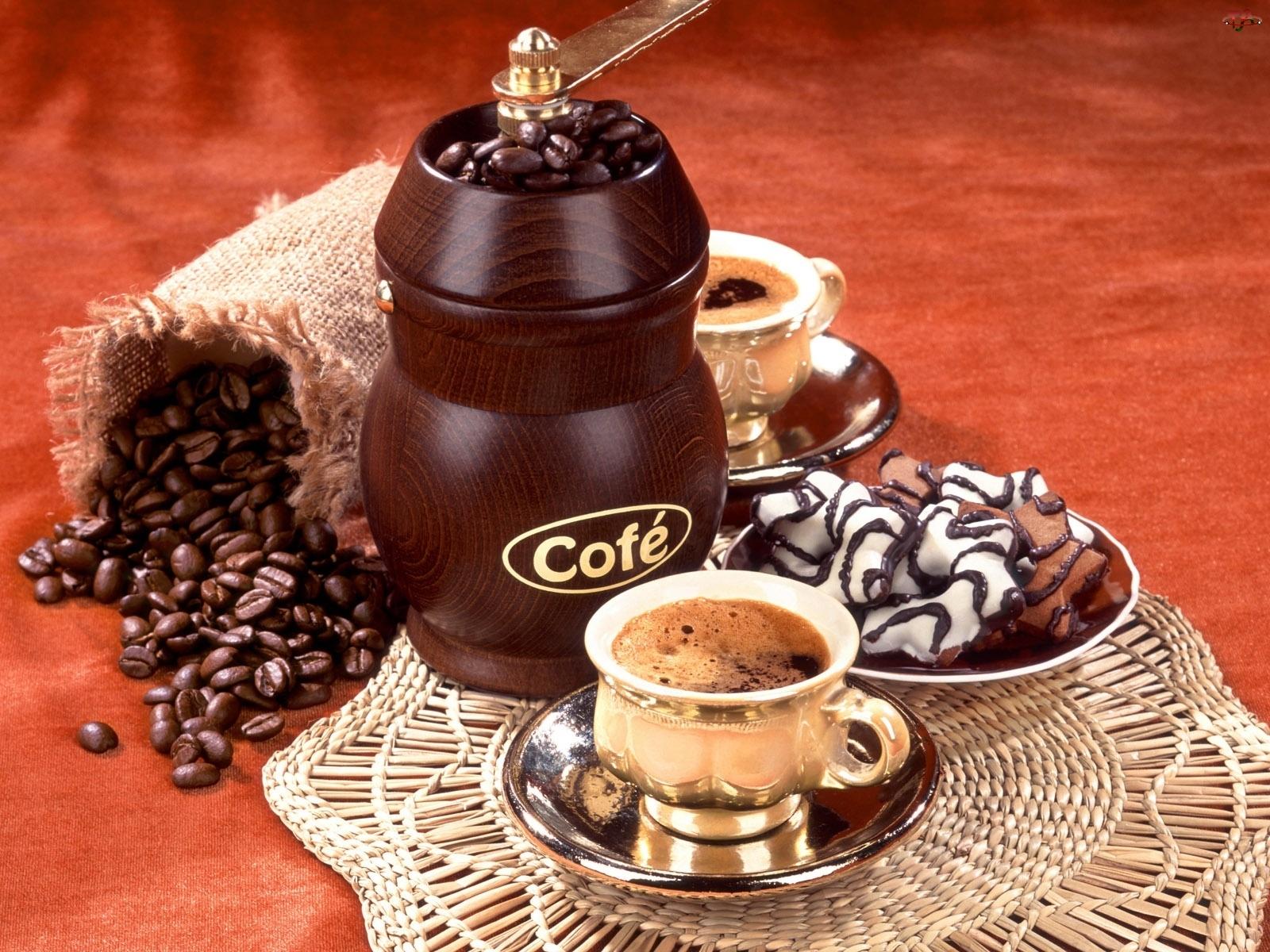 Kawy, Kawa, Młynek, Ciasteczka, Ziarna, Filiżanki