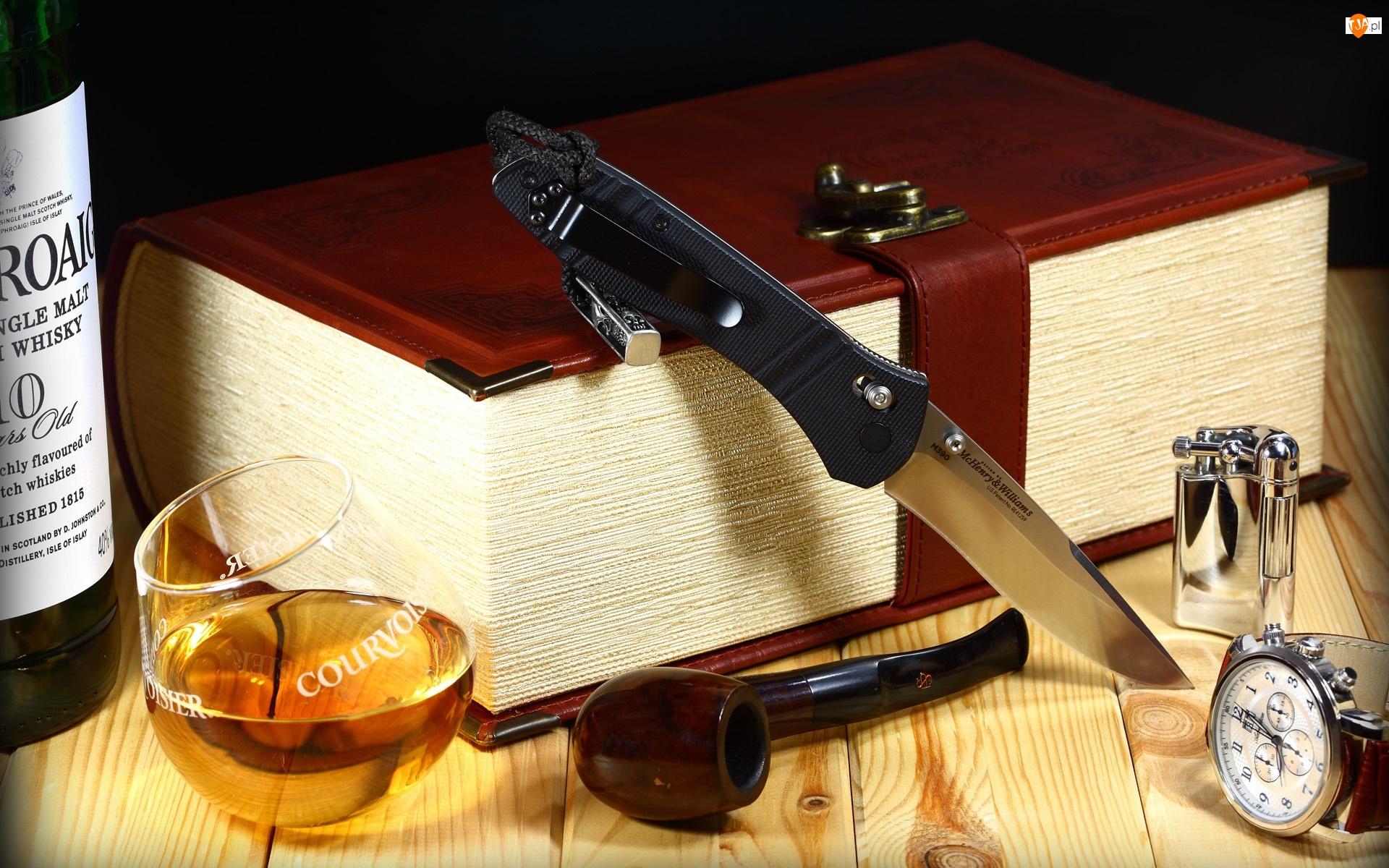 Nóż, Whisky, Księga, Szklaneczka, Fajka