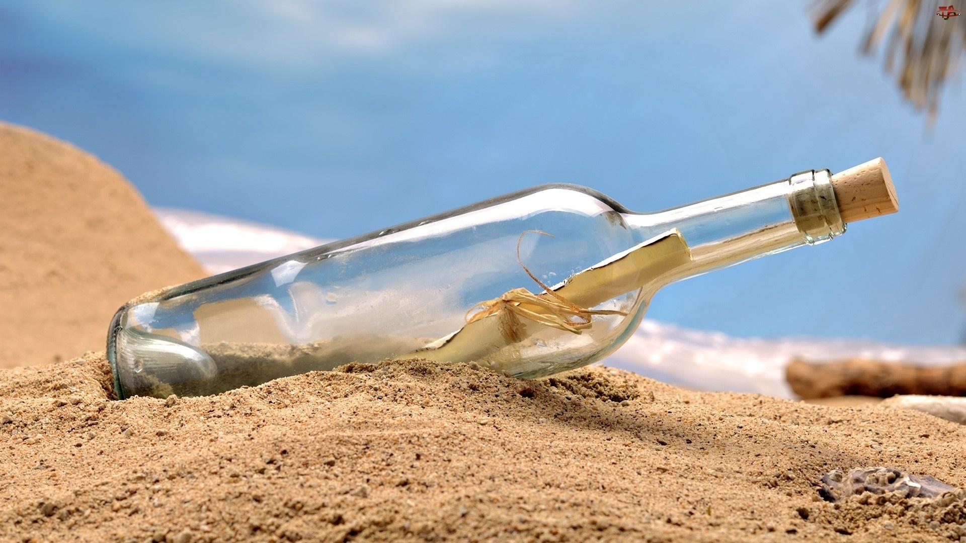 Butelka, Plaża, List, Morze