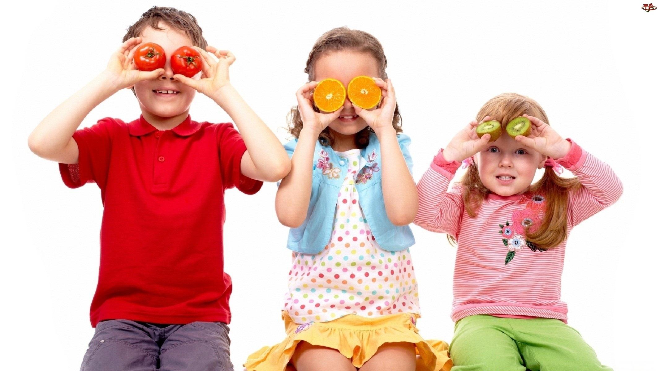 Owoce, Dzieci, Zakryte, Zabawa, Oczy