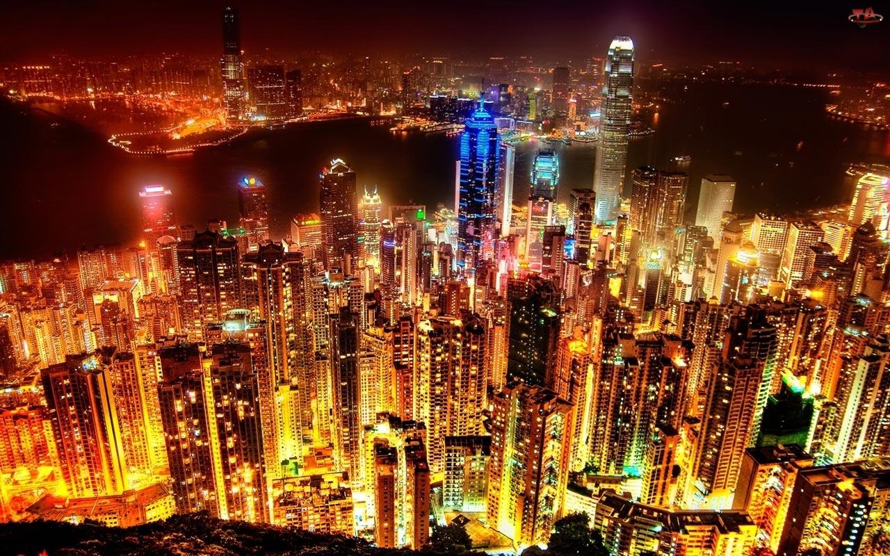 Hong Kong, Wieżowce, Noc, Światła