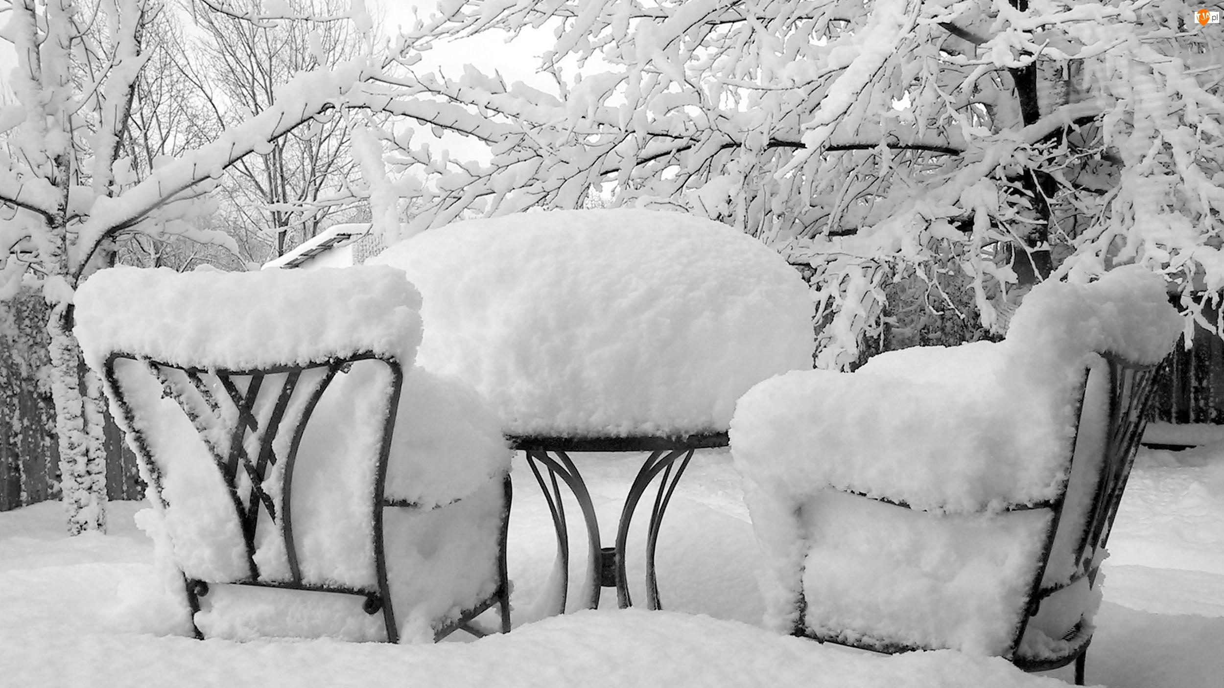 Zima, Śnieg, Stolik, Krzesła