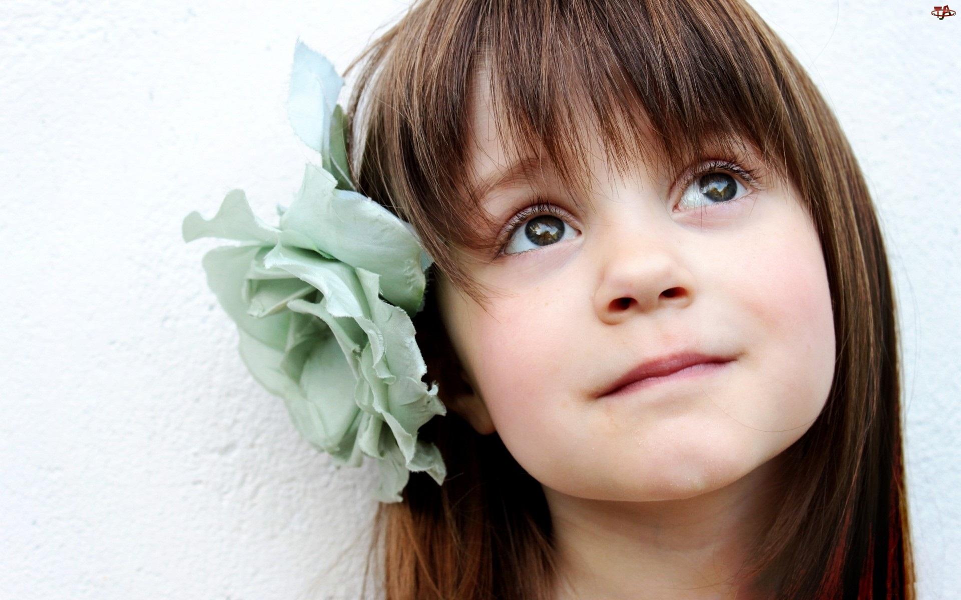 Dziewczynka, Kwiat, Uśmiech, Niebieski