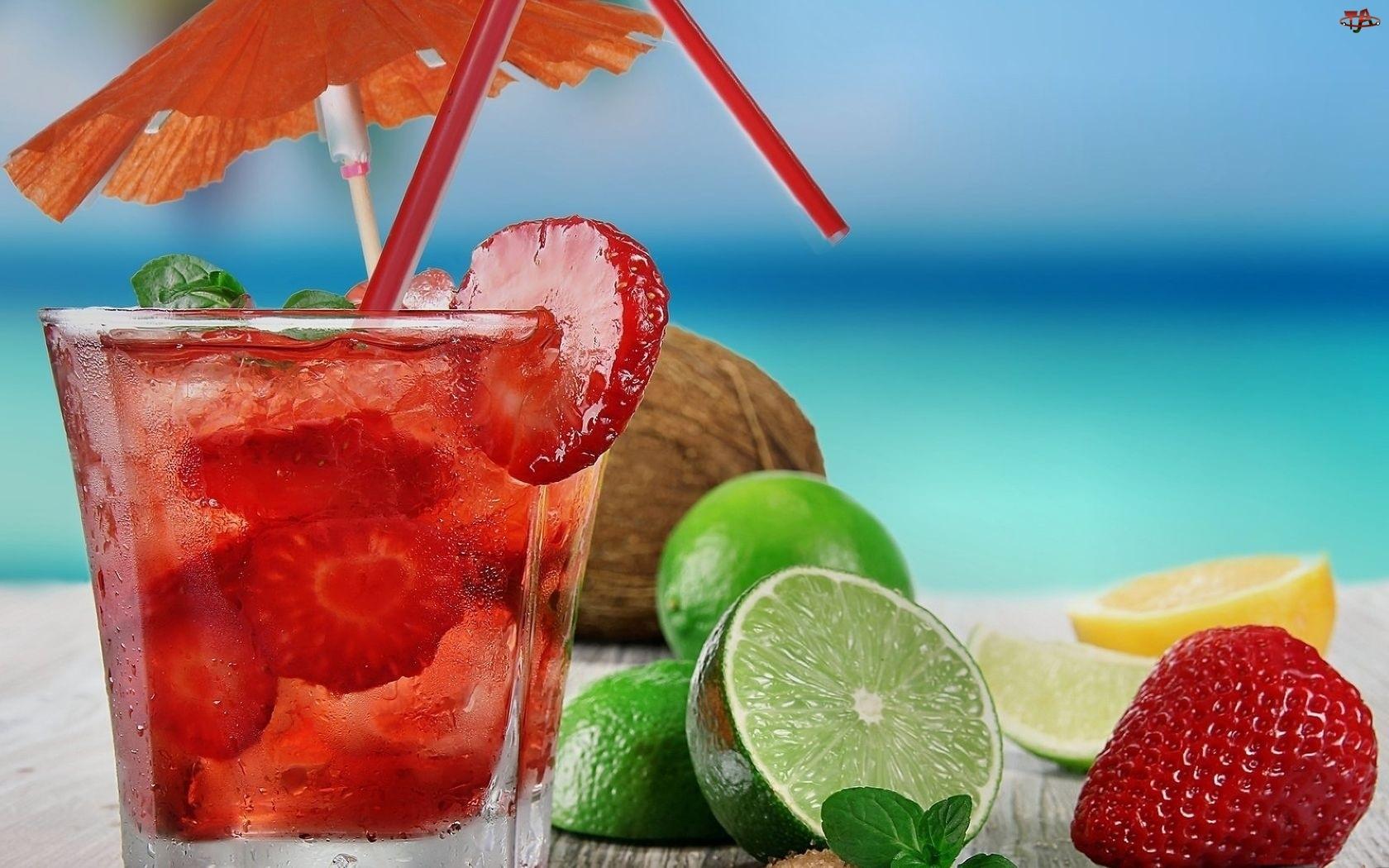 Egzotyczny, Słomki, Drink, Owoce