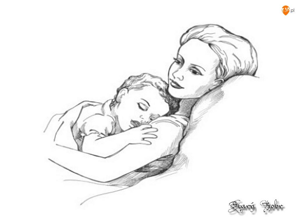 Matka, Szkic, Śpiące, Dziecko
