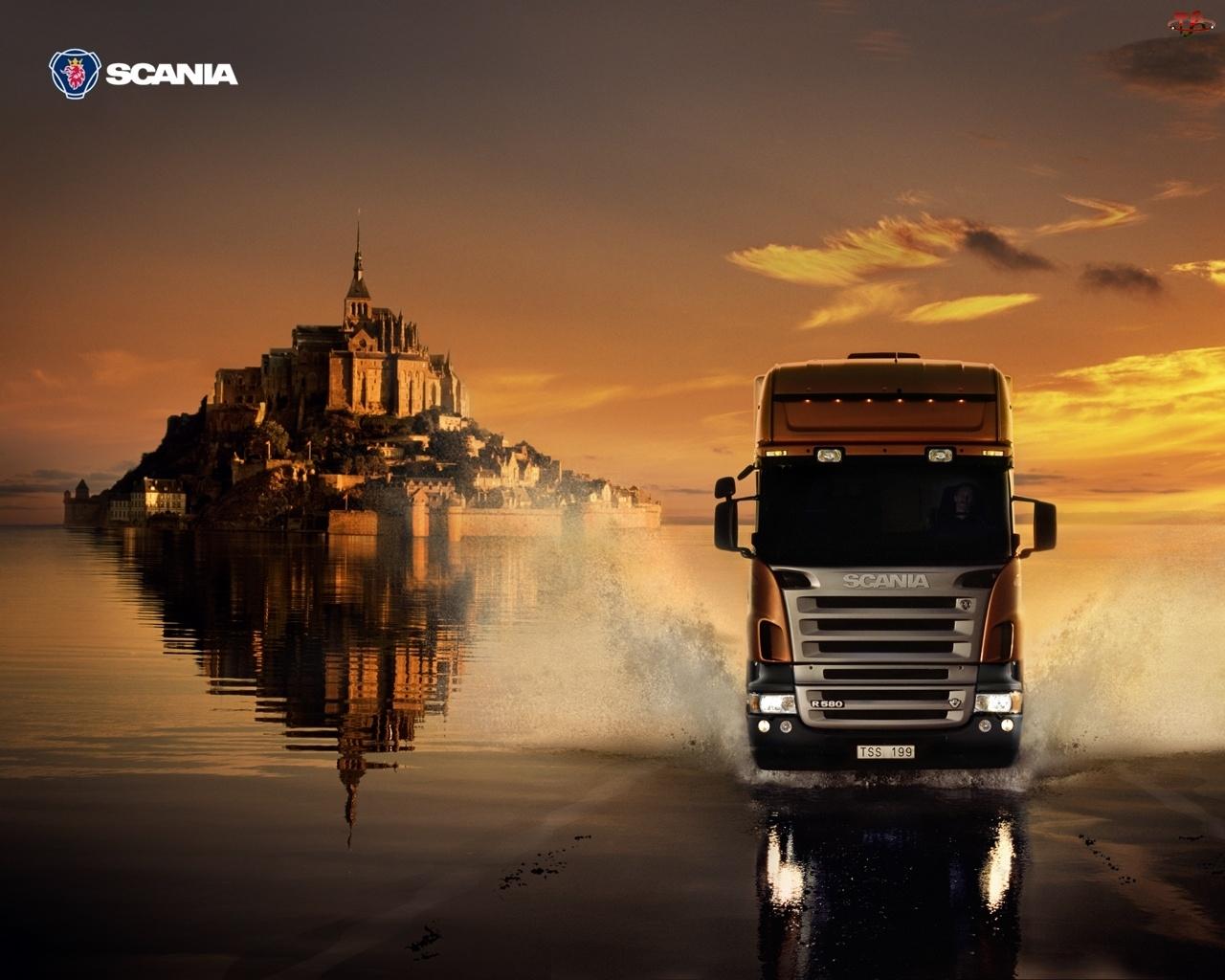 Słońca, Ciężarówka, Zamek, Scania, Zachód