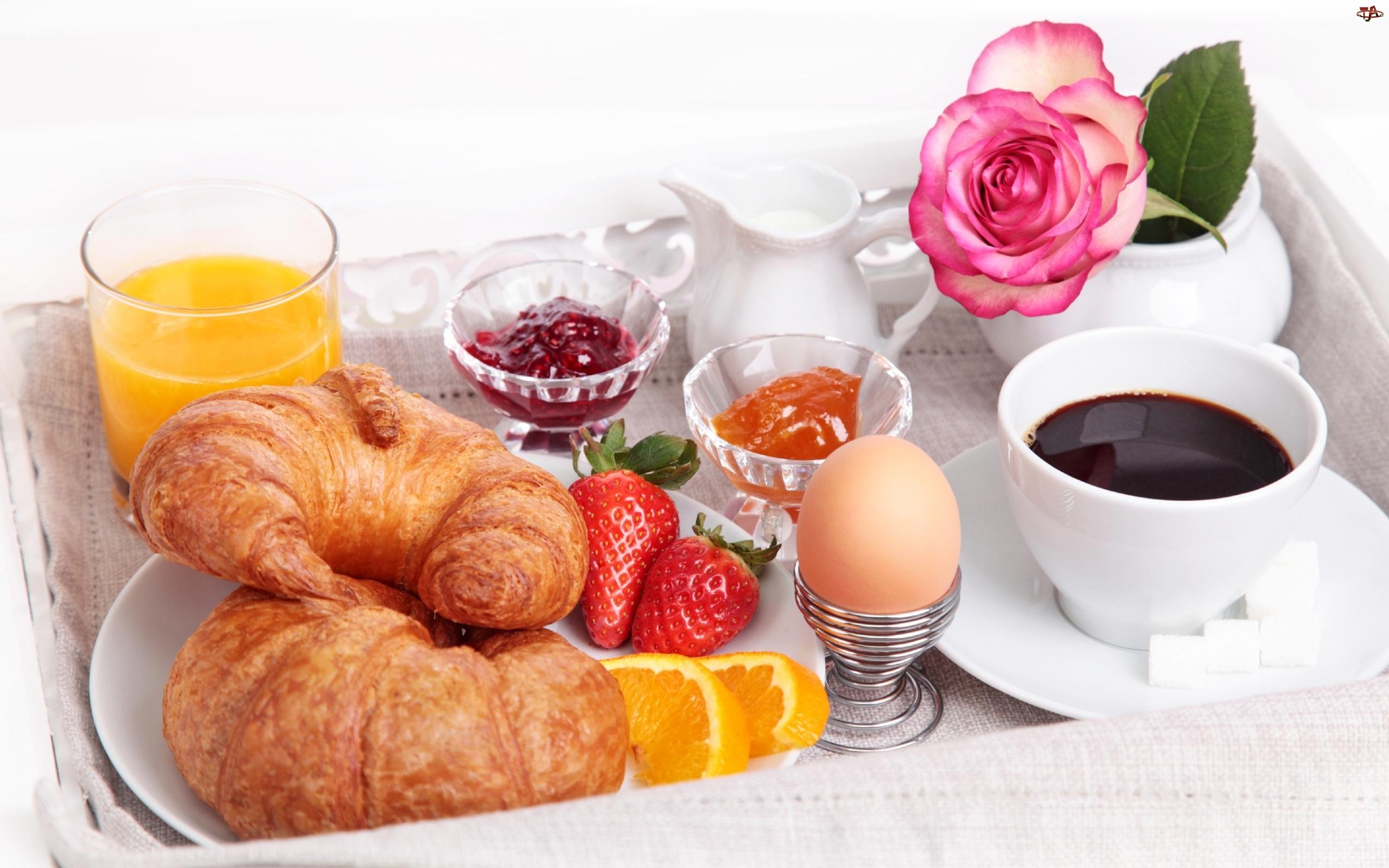 Śniadanko, Rogaliki, Kawa, Jajko, Dżem