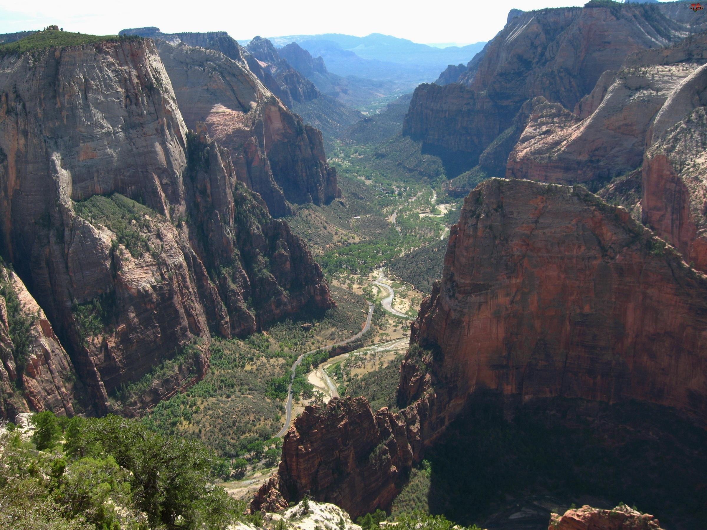Drzewa, Kanion, Góry, Skaliste, Drogi