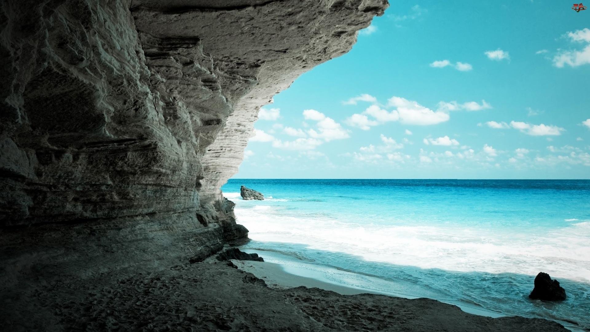 Jaskinia, Fale, Skały, Morze