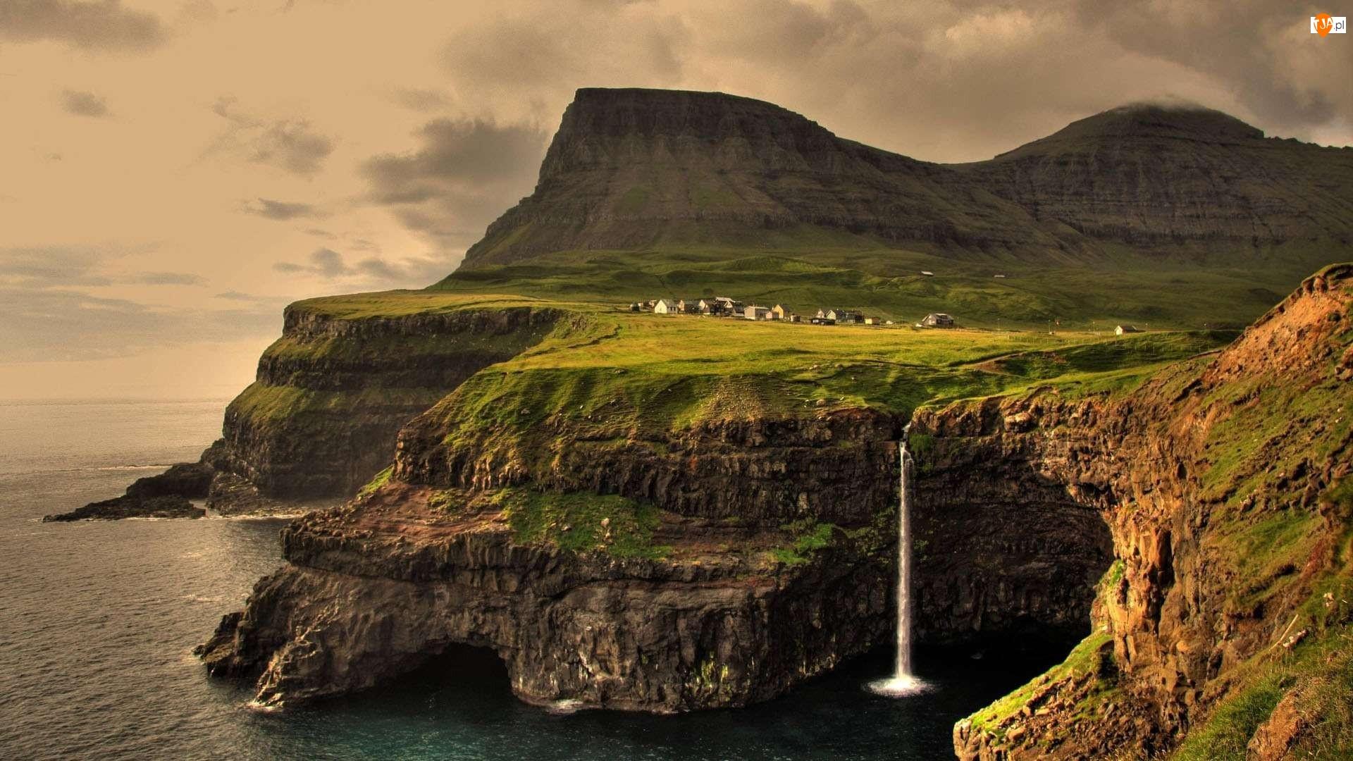 Morze, Norwegia, Wodospad, Góra, Wioska