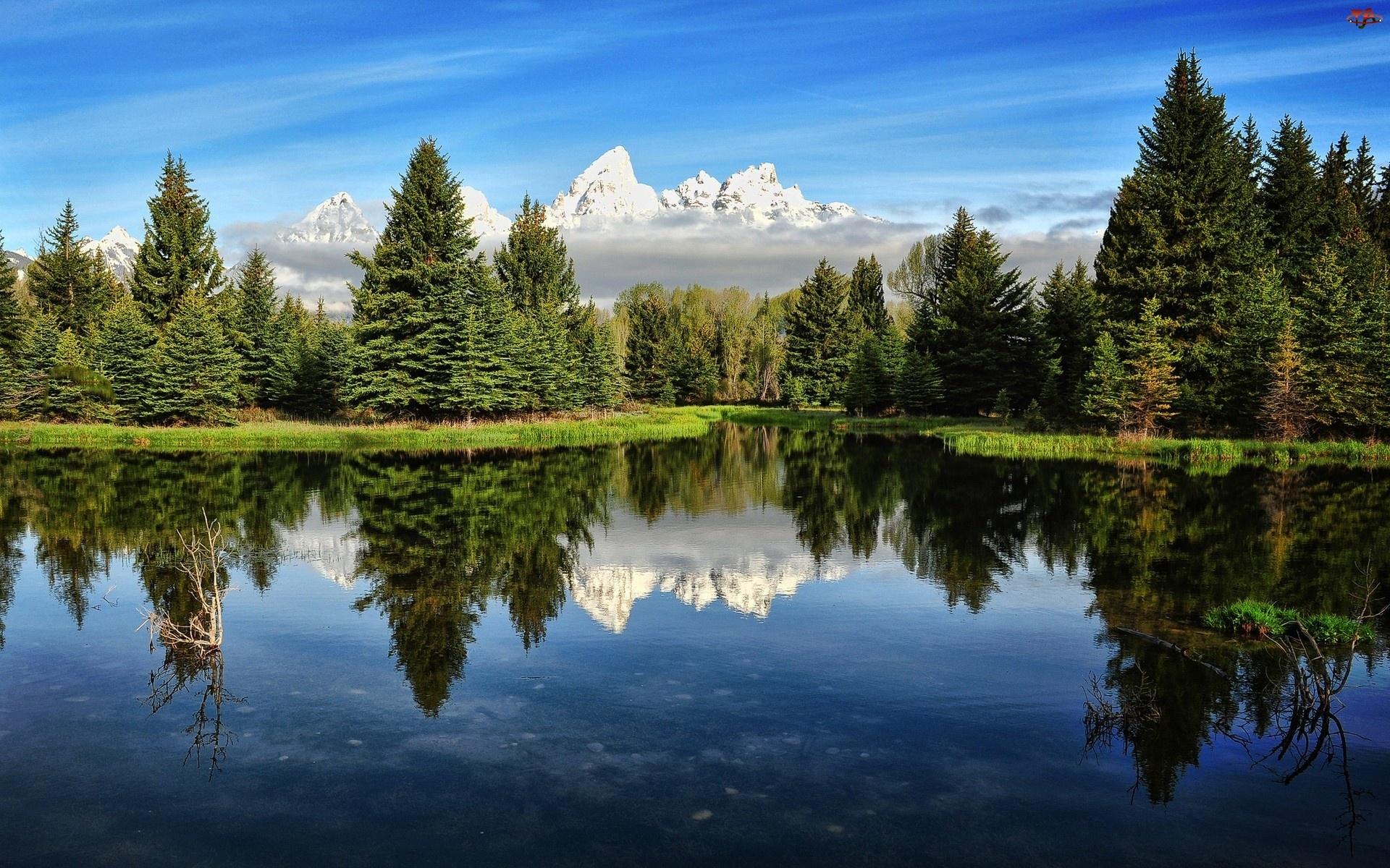 Góry, Niebo, Drzewa, Woda