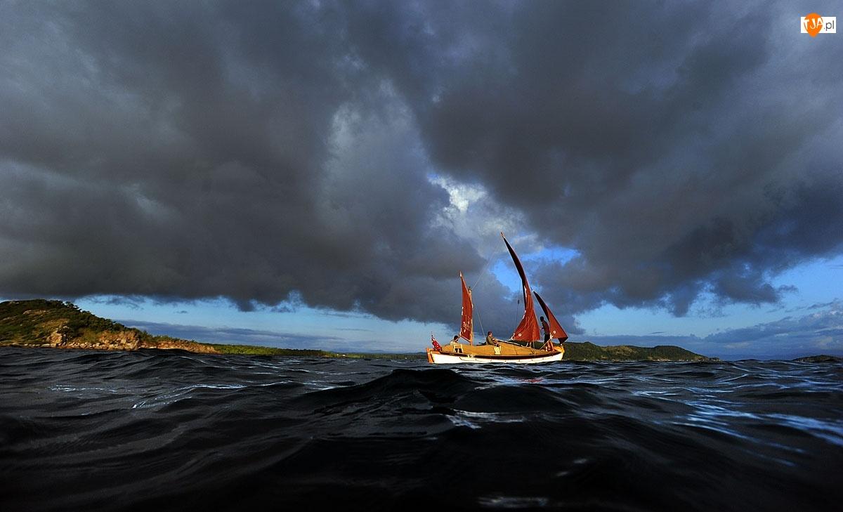 Morze, Niebo, Jacht, Burzowe