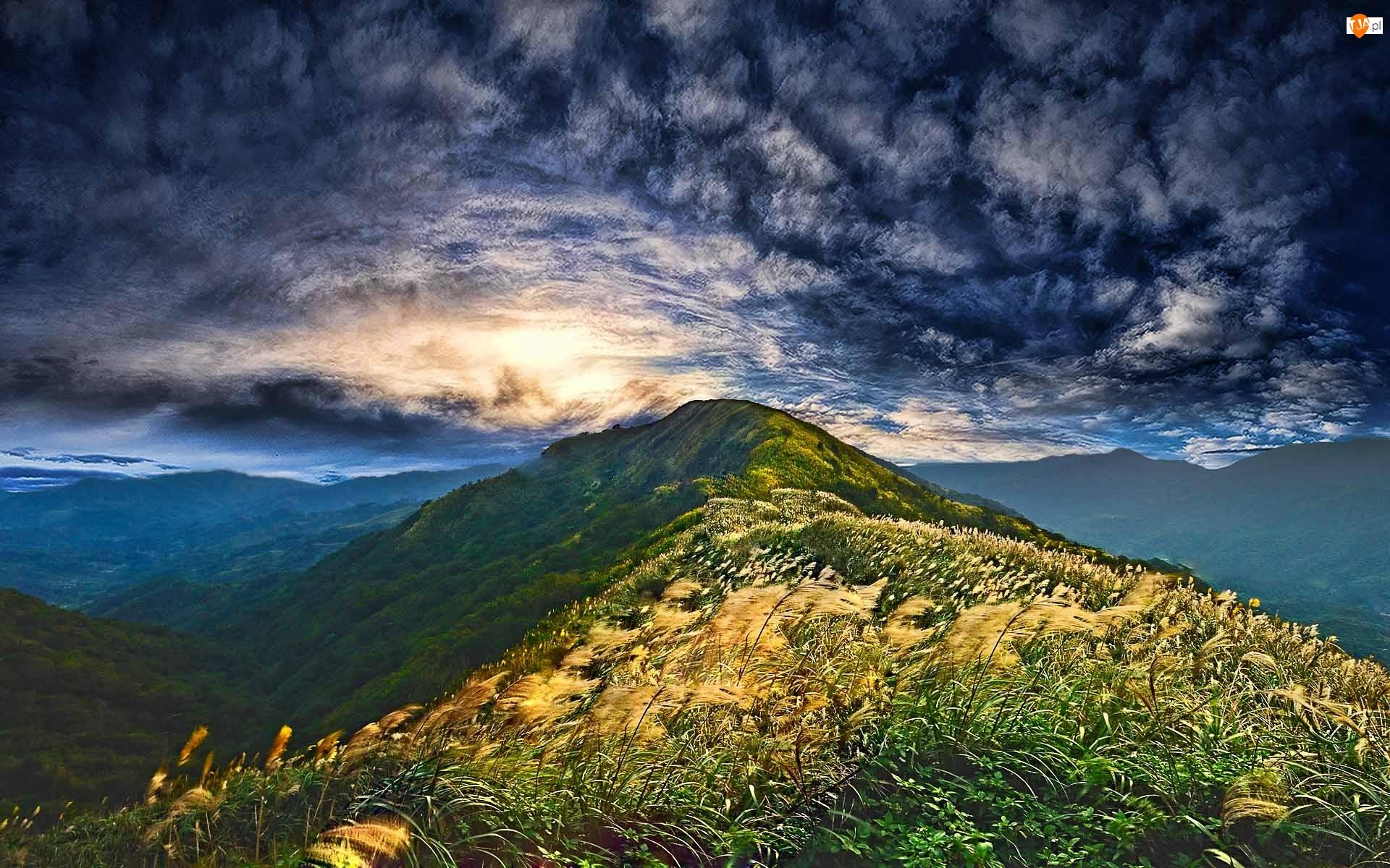 Chmury, Wzgórza, Trawy