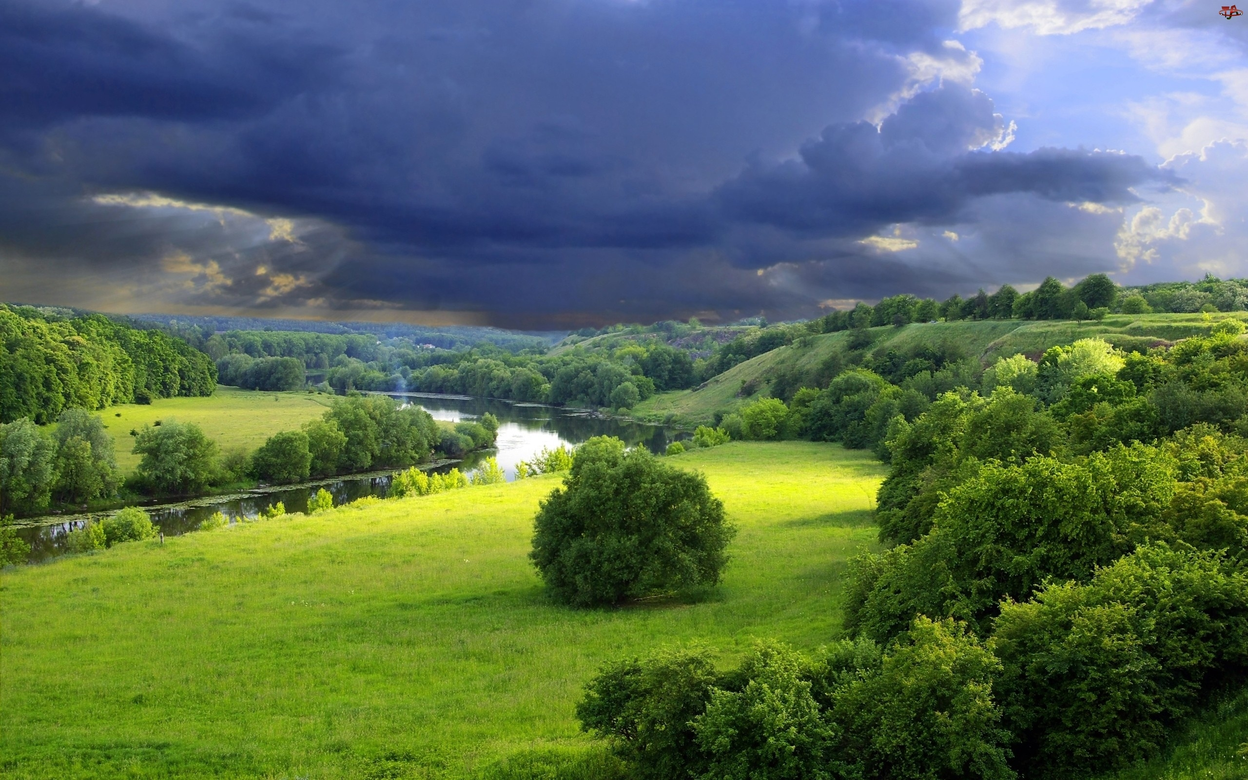 Niebo, Rzeka, Łąka, Drzewa, Burzowe
