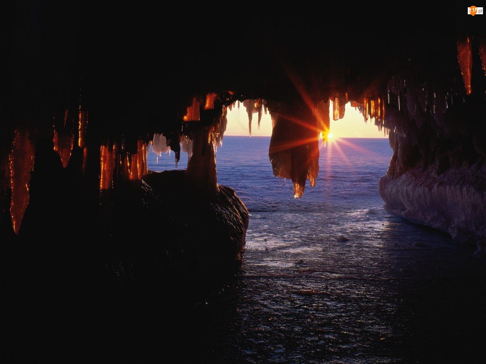 Słońca, Jaskinia, Promienie, Morze, Wschodzącego