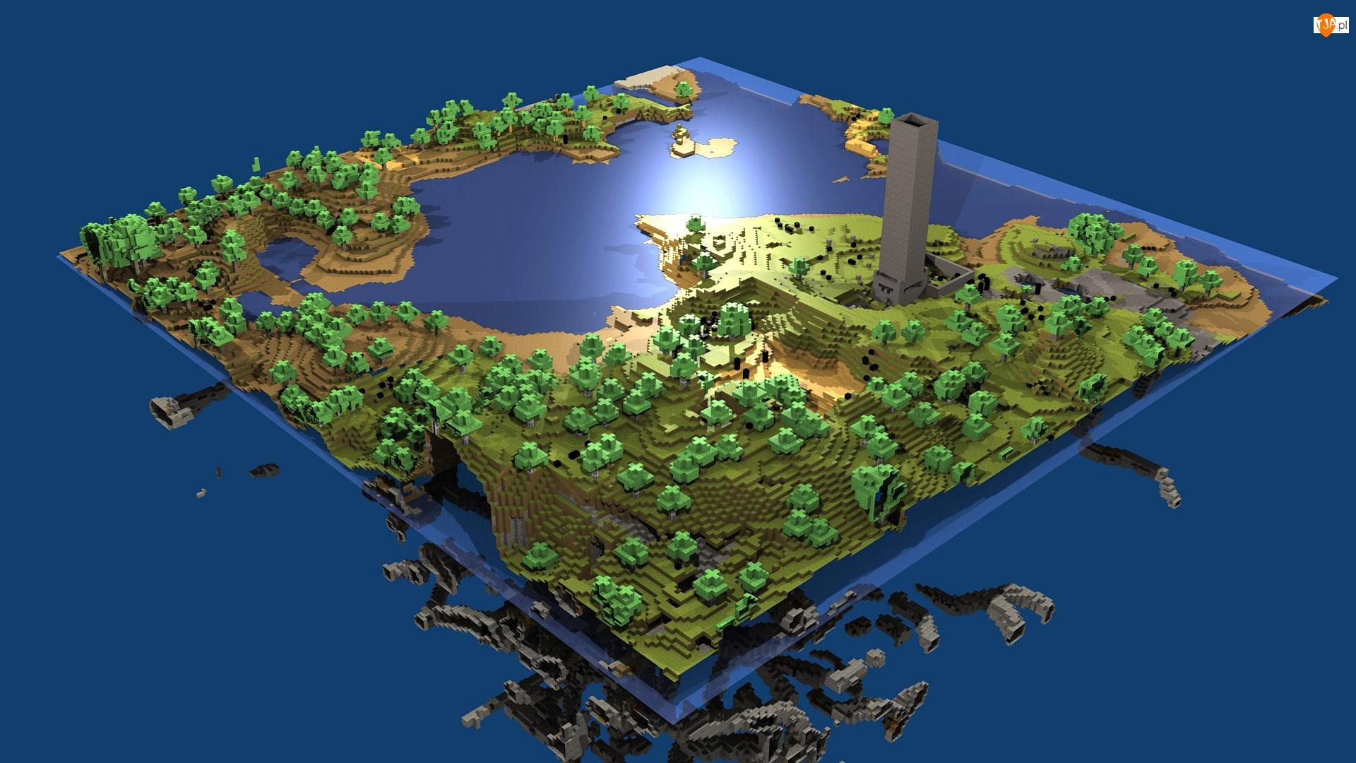 Minecraft, Jezioro, Drzewa