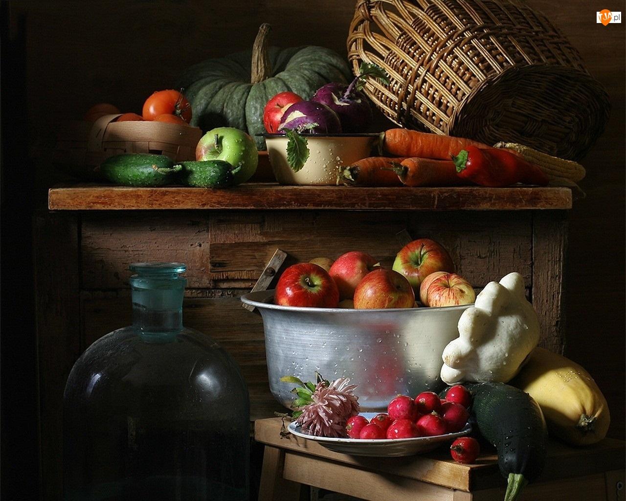 Owoce, Stół, Warzywa, Butelki, Jabłka, Kosz