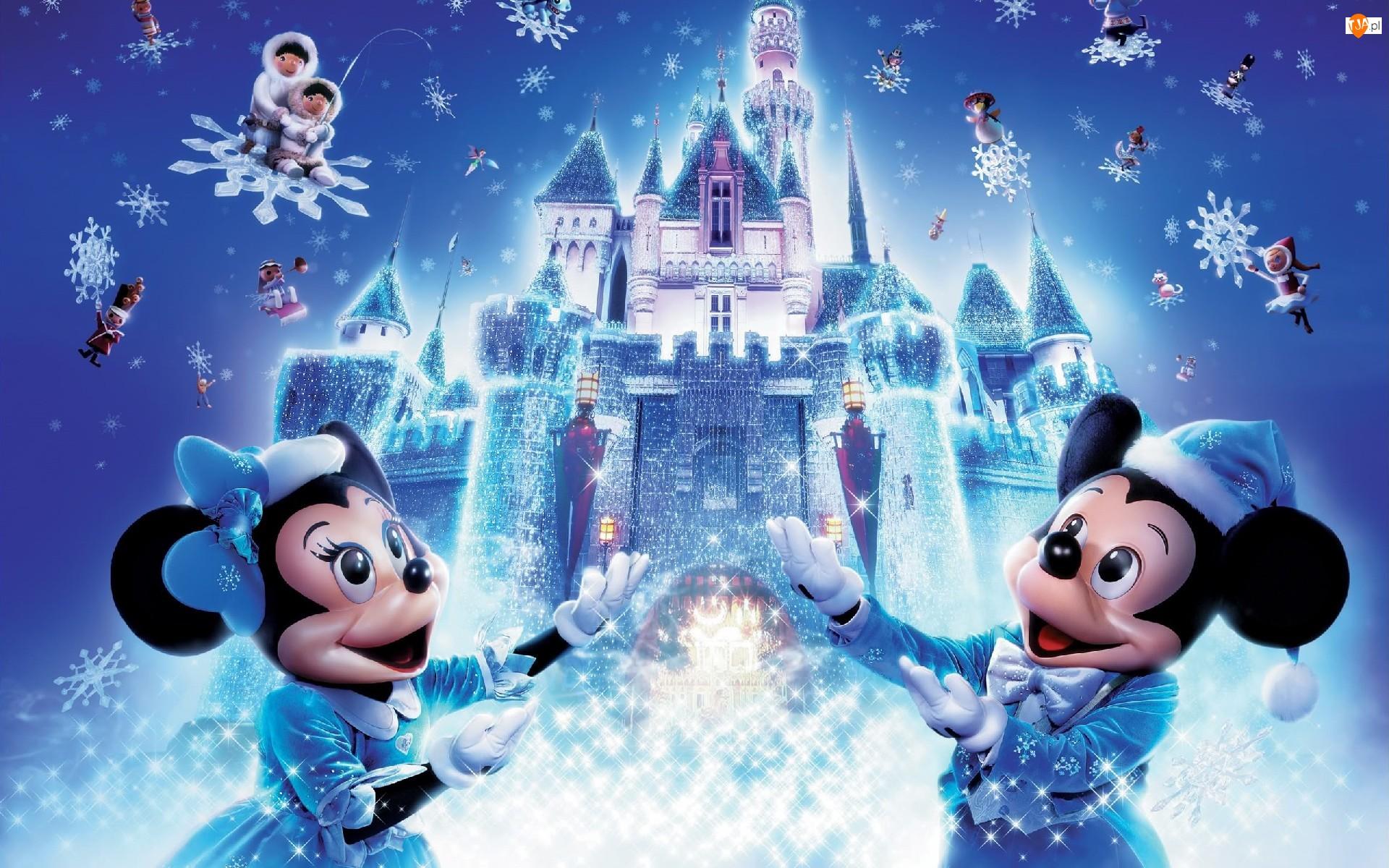 Śniegu, Disneyland, Miki, Myszka, Płatki