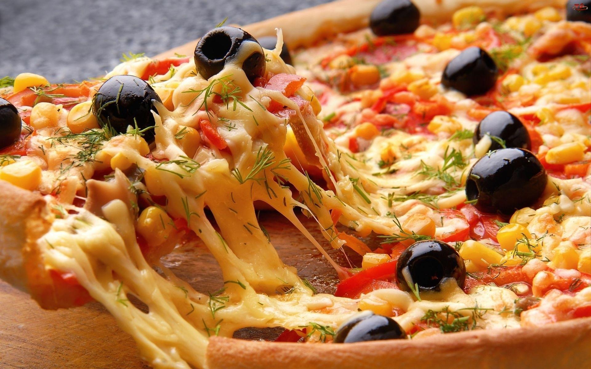 Pizza, Dodatki, Ciągnący, Ser
