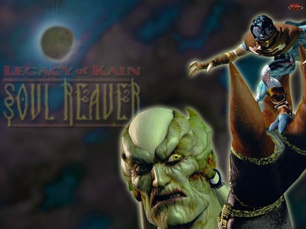 logo, Legacy Of Kain Soul Reaver, potwór, postać, twarz