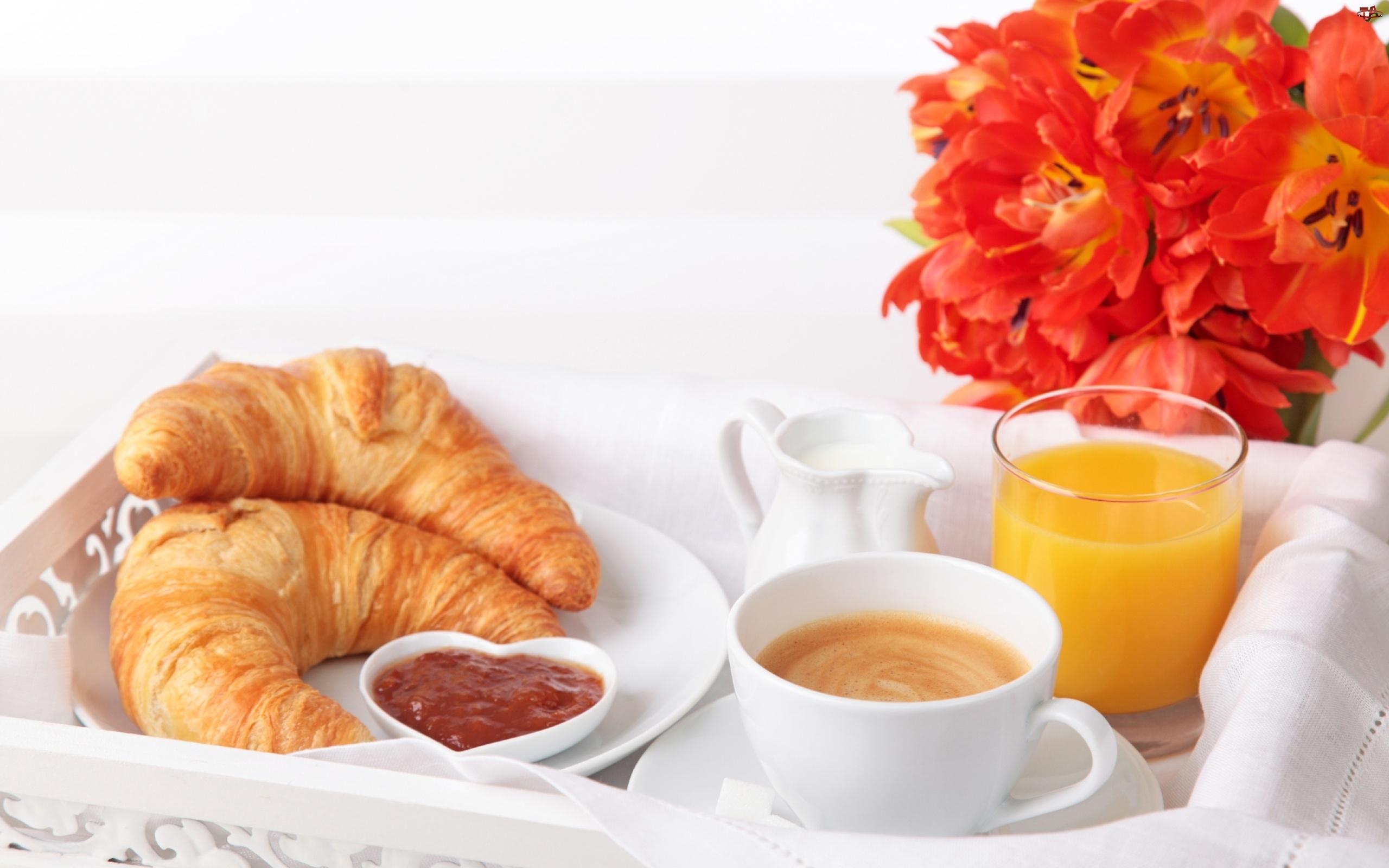 Kawa, Kwiaty, Świeże, Śniadanko, Rogaliki, Sok