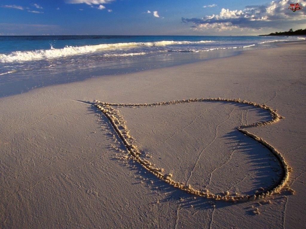 Morze, Serce na Plaży, Walentynki