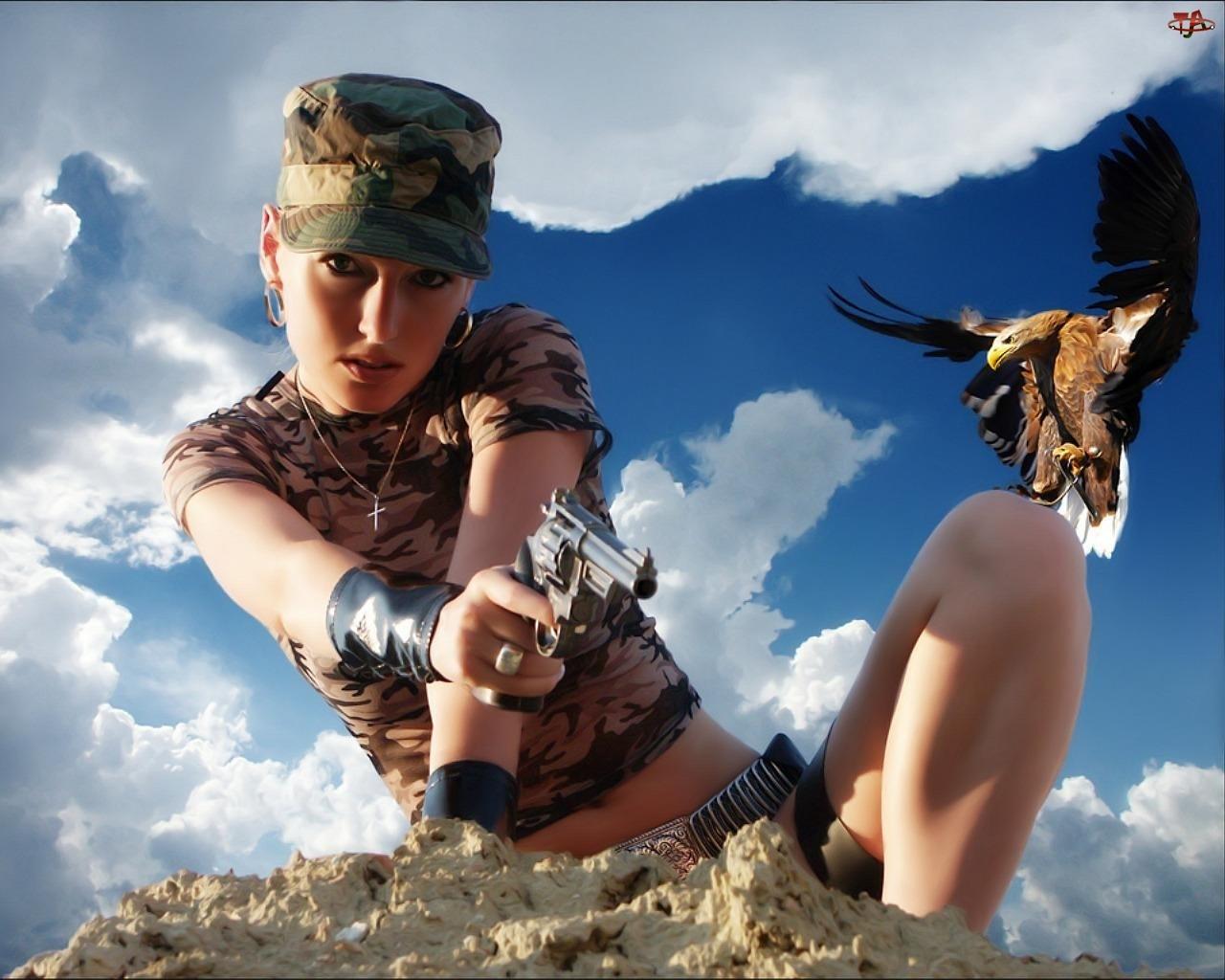 Orzeł, Kobieta, Broń