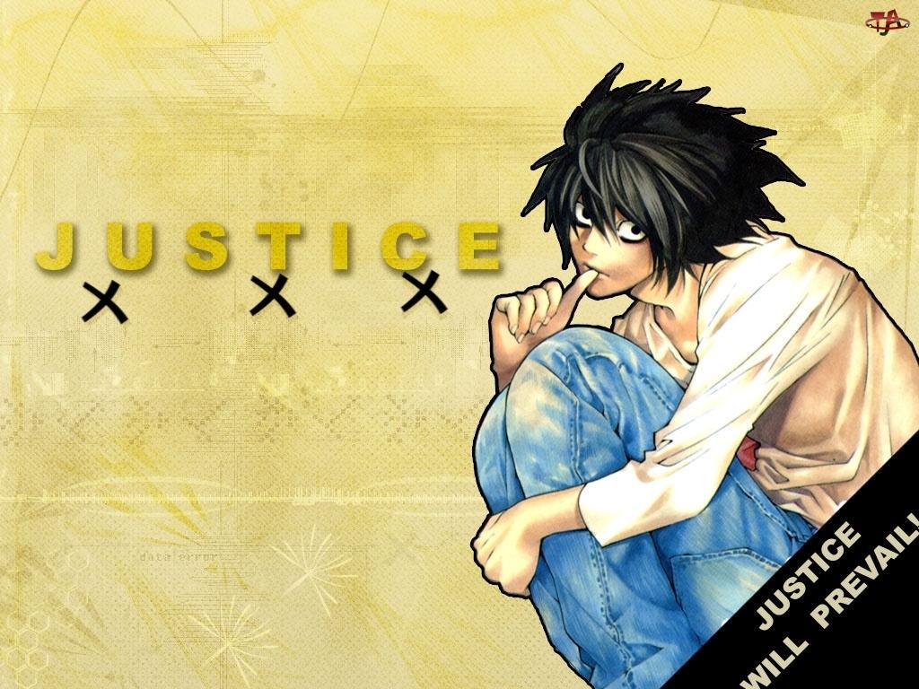 facet, Death Note, postać, justice, spodnie