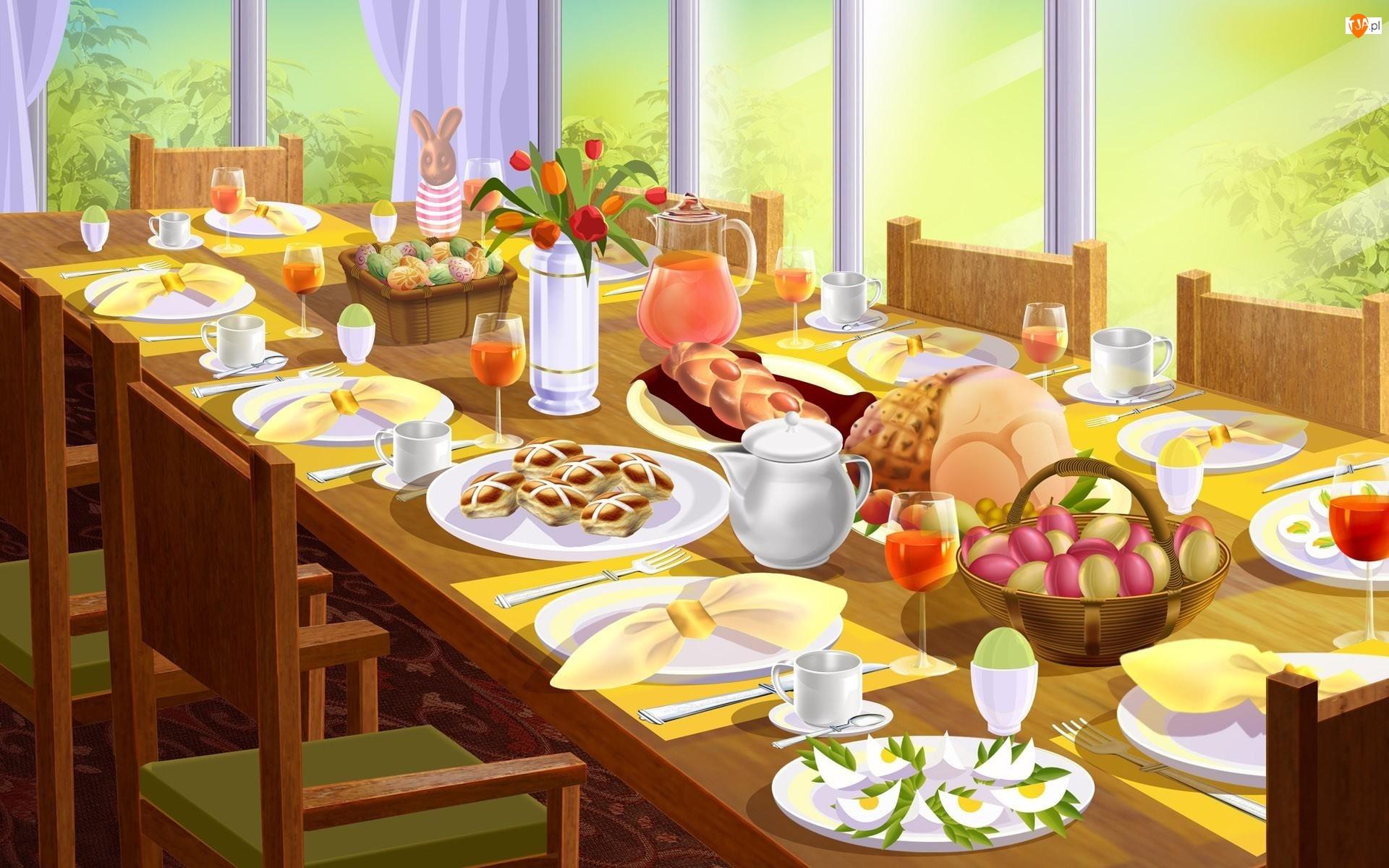 Potrawy, Wielkanoc, Śniadanie, Stół