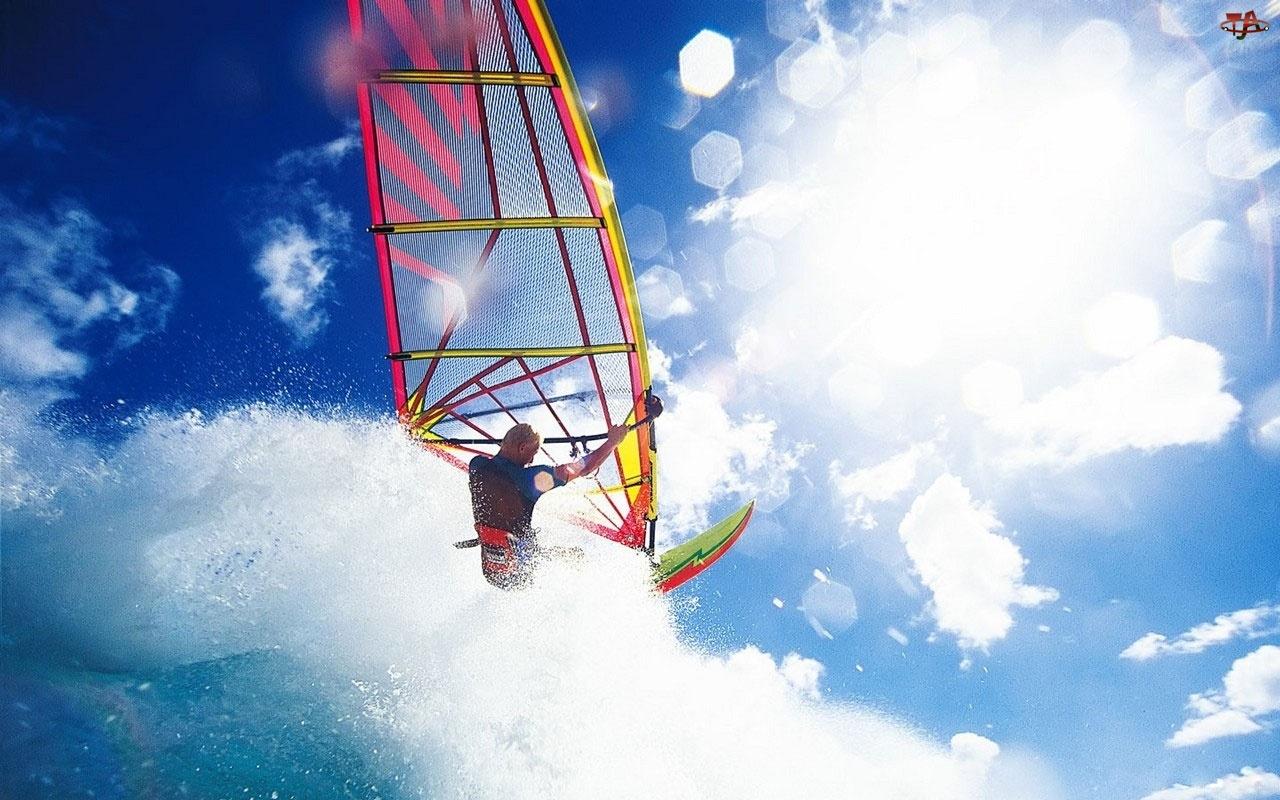 Niebo, Windsurfing, Fala