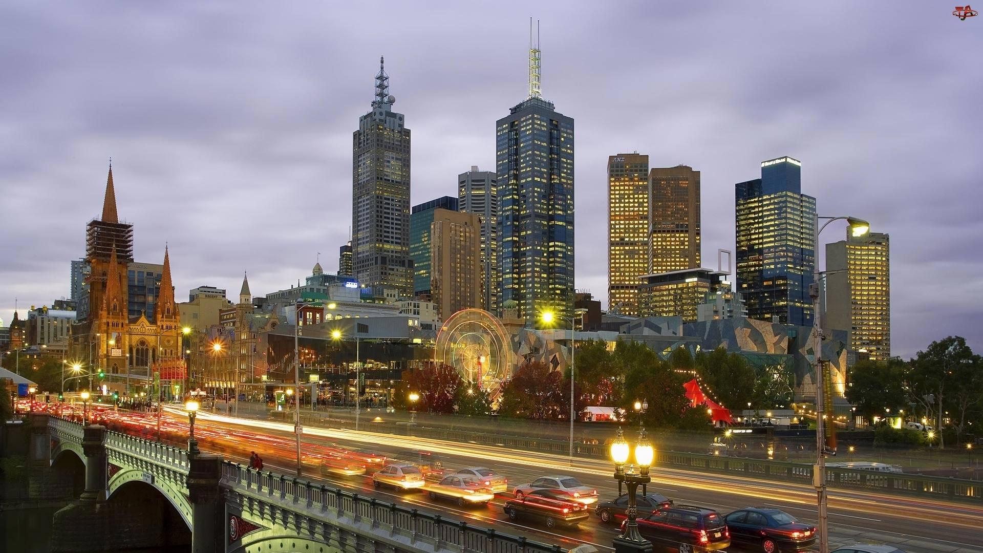 Miasto, Australia, Noc, Melbourne