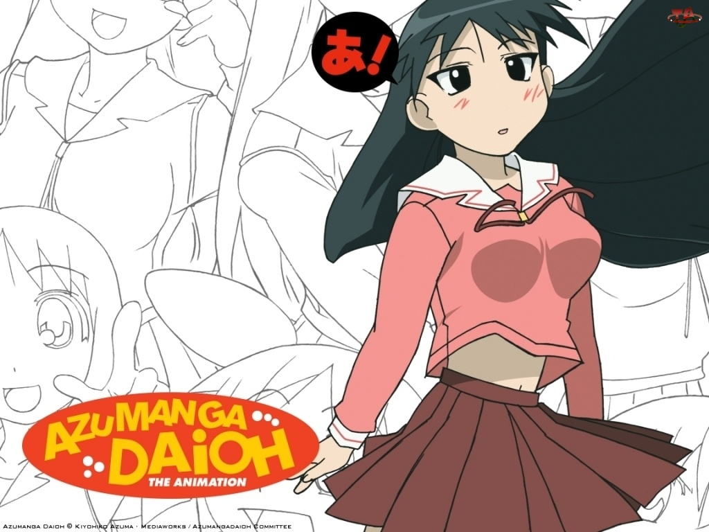 Azumanga Daioh, logo, dziewczyna, napis