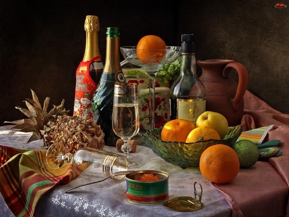 Owoce, Alkohole, Kawior, Naczynia