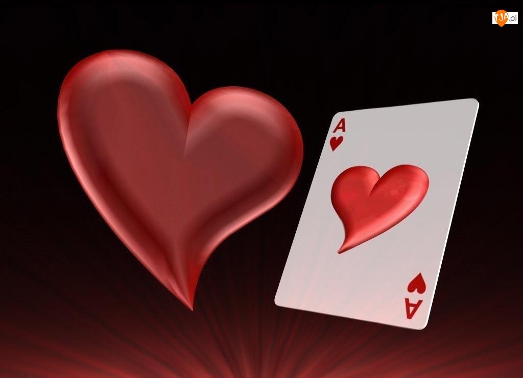 Walentynki, karta, AS , serce