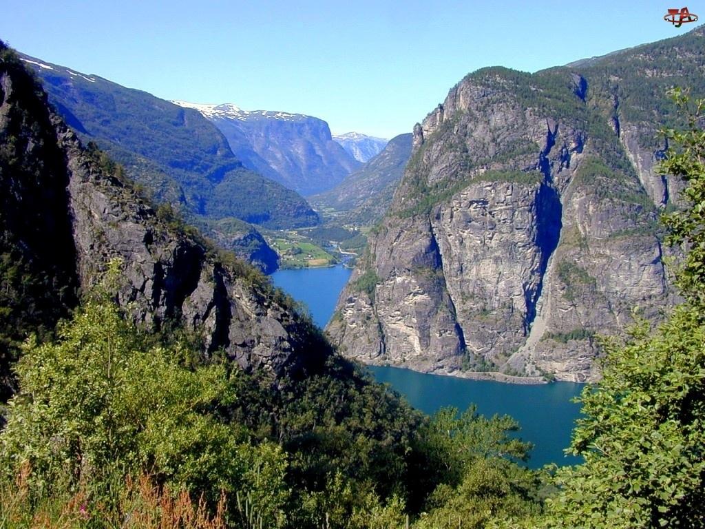 Norwegia, Zieleń, Góry, Rzeka