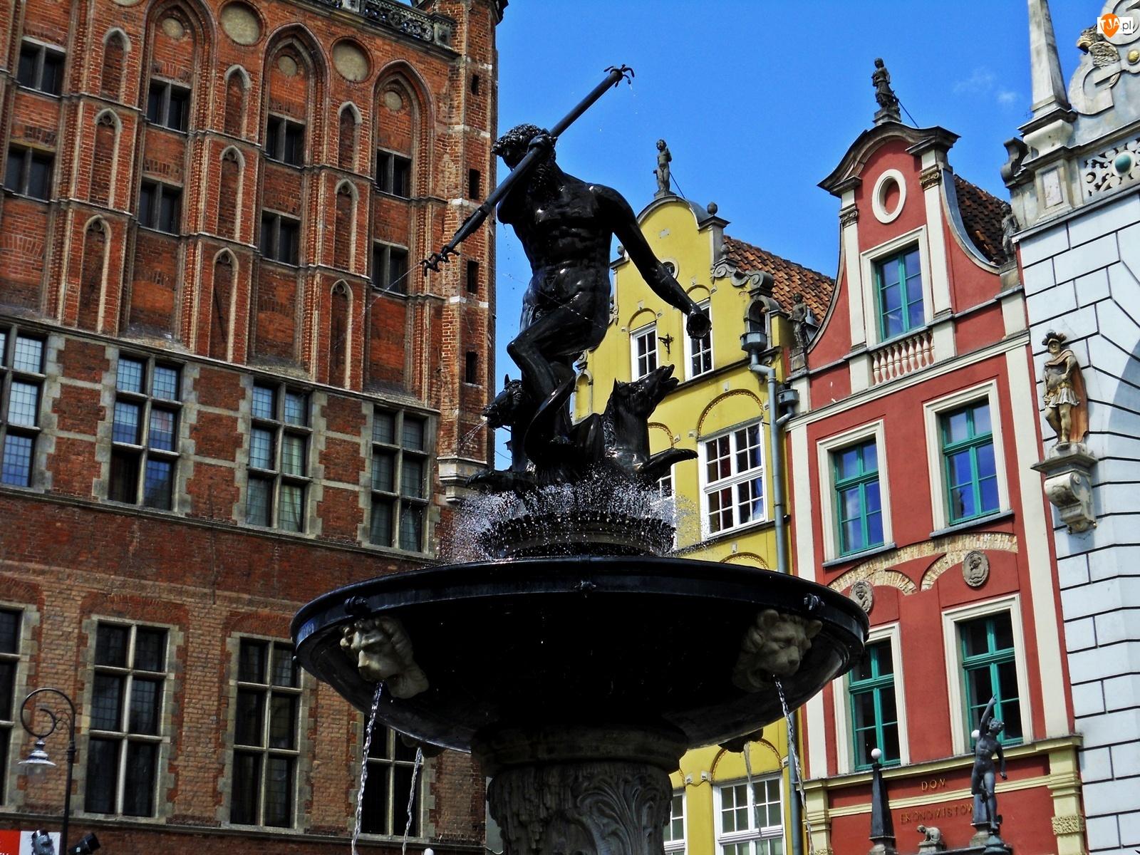Gdańsk, Fontanna, Pomnik, Neptun