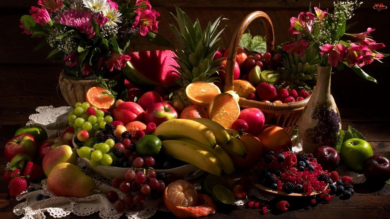 Kompozycja, Owoce, Wazon, Koszyk, Kwiaty