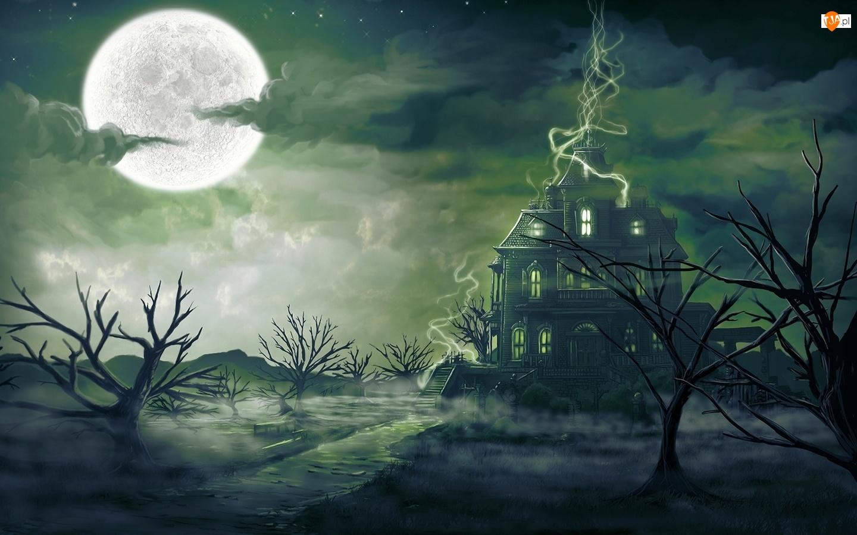 Drzewa, Dom, Księżyc