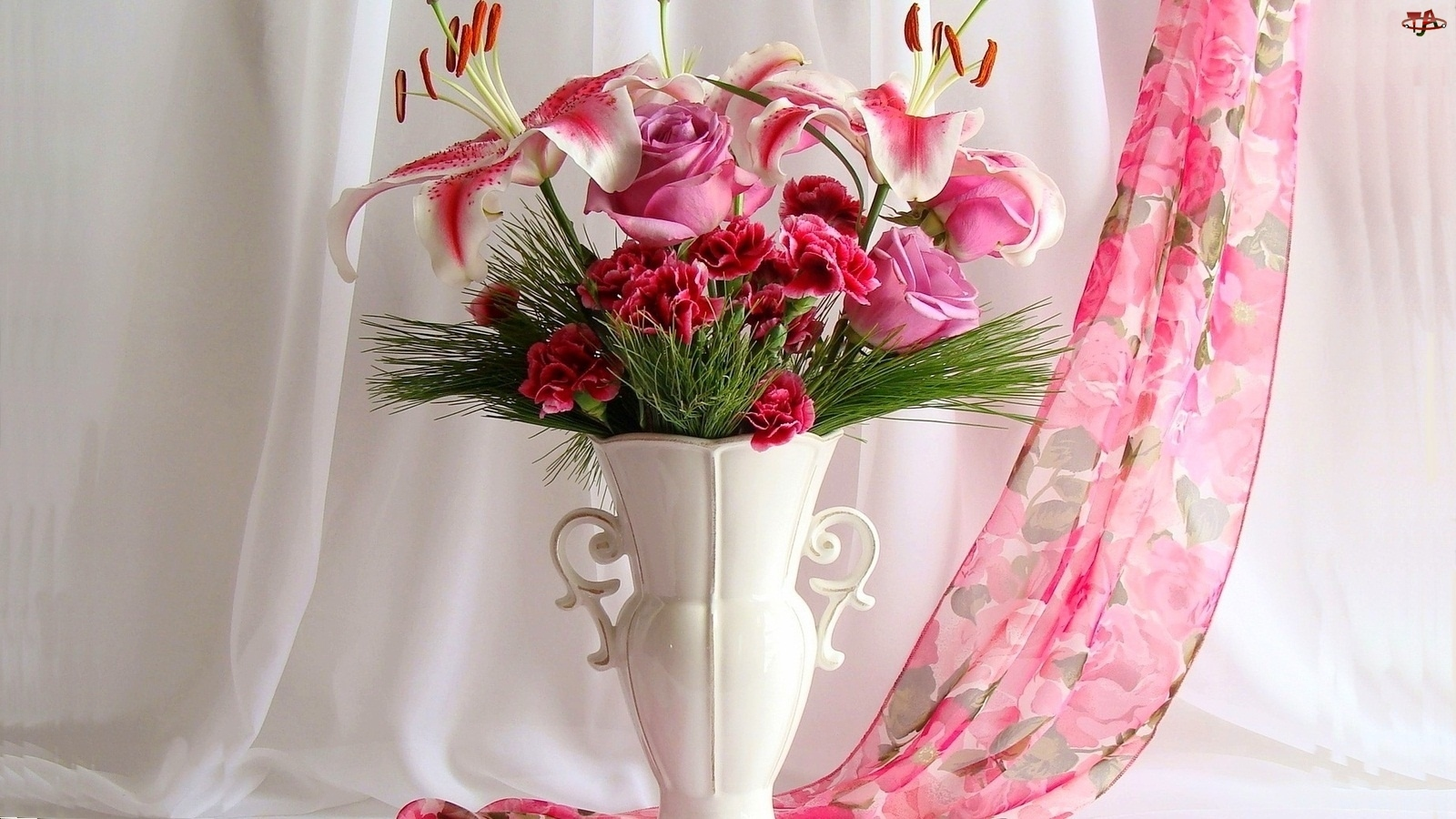 Bukiet, Kolorowy, Biały, Szal, Wazon, Kwiatów