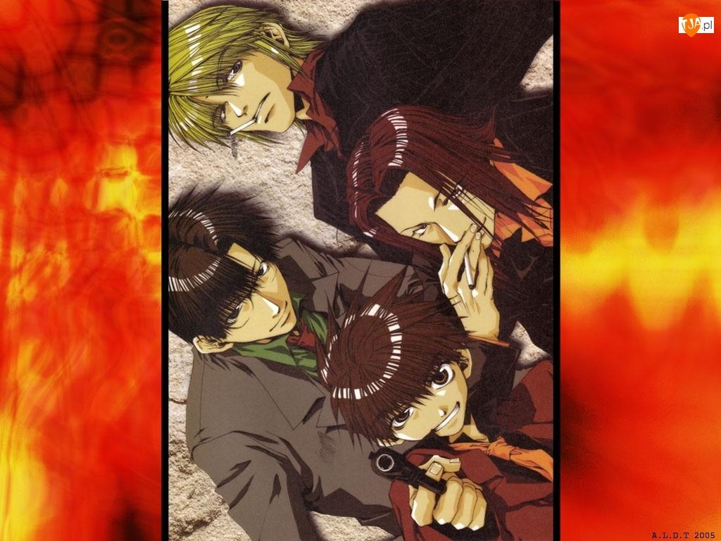 Saiyuki, pistolet, grupa, papieros