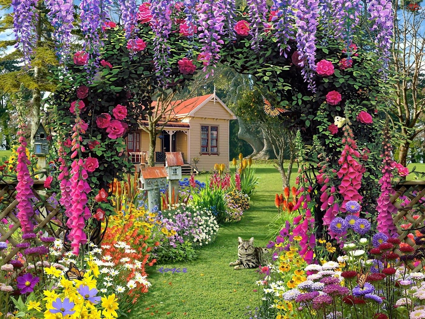 Komputerowa, Ogród, Kot, Kwiaty, Grafika