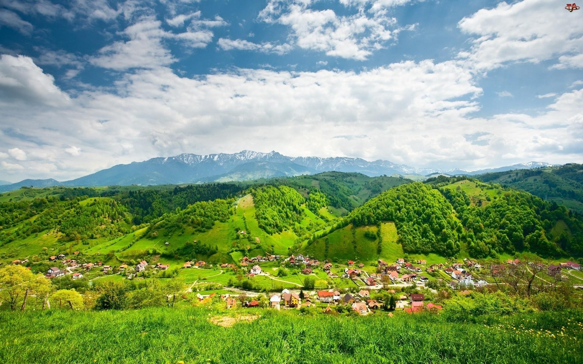 Góry, Wioska, Zielone, Wzgórza