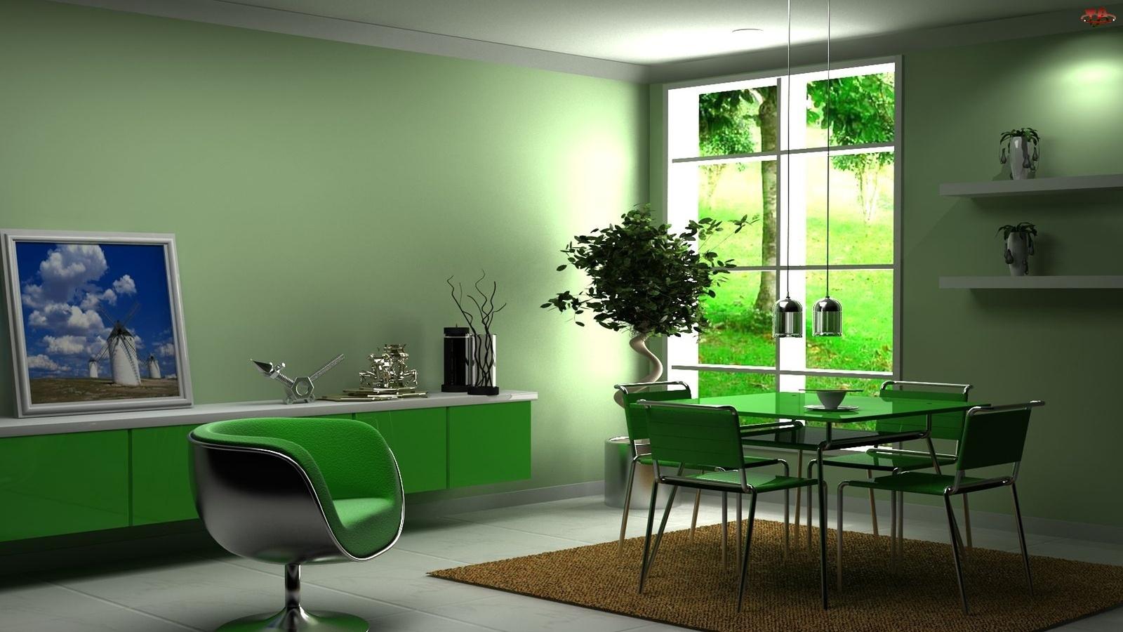 Zielona, Okno, Jadalnia, Meble