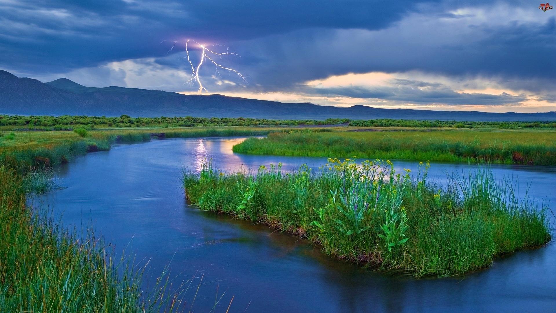 Burzowe, Rzeka, Chmury, Błyskawica