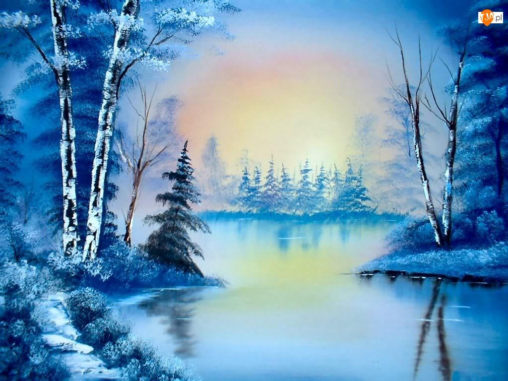 Malarstwo, Jezioro, Choinki, Drzewa, Zima