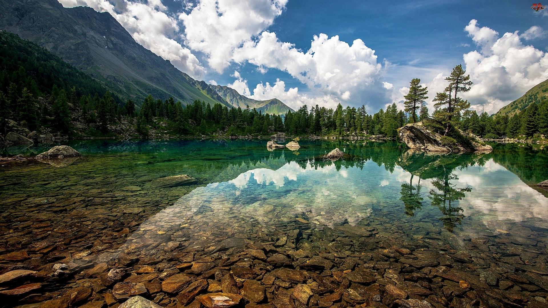 Góry, Drzewa, Jezioro, Chmury