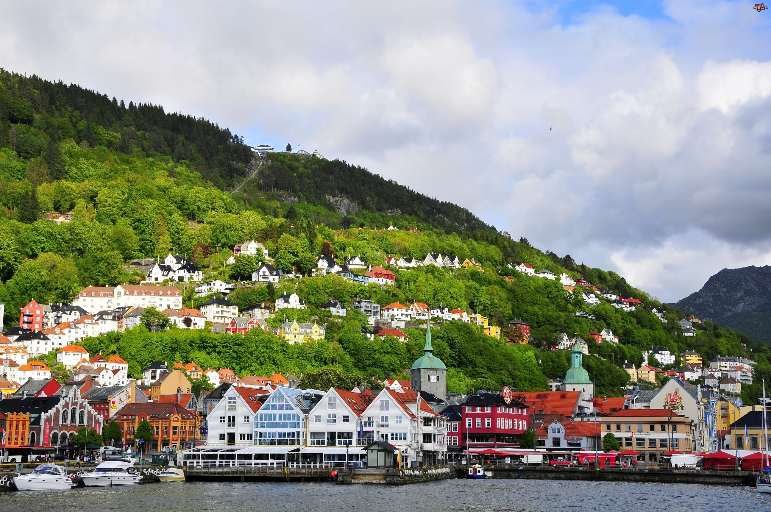 Panorama, Norwegia, Miasta, Bergen