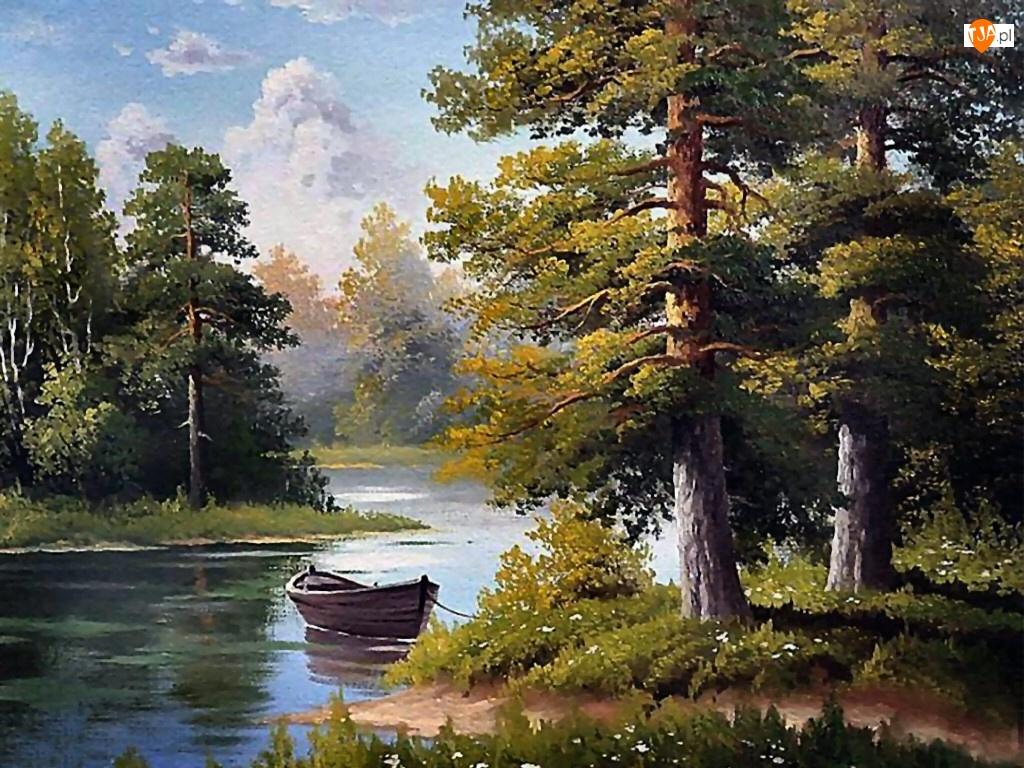 Jezioro, Malarstwo, Las, Łódka