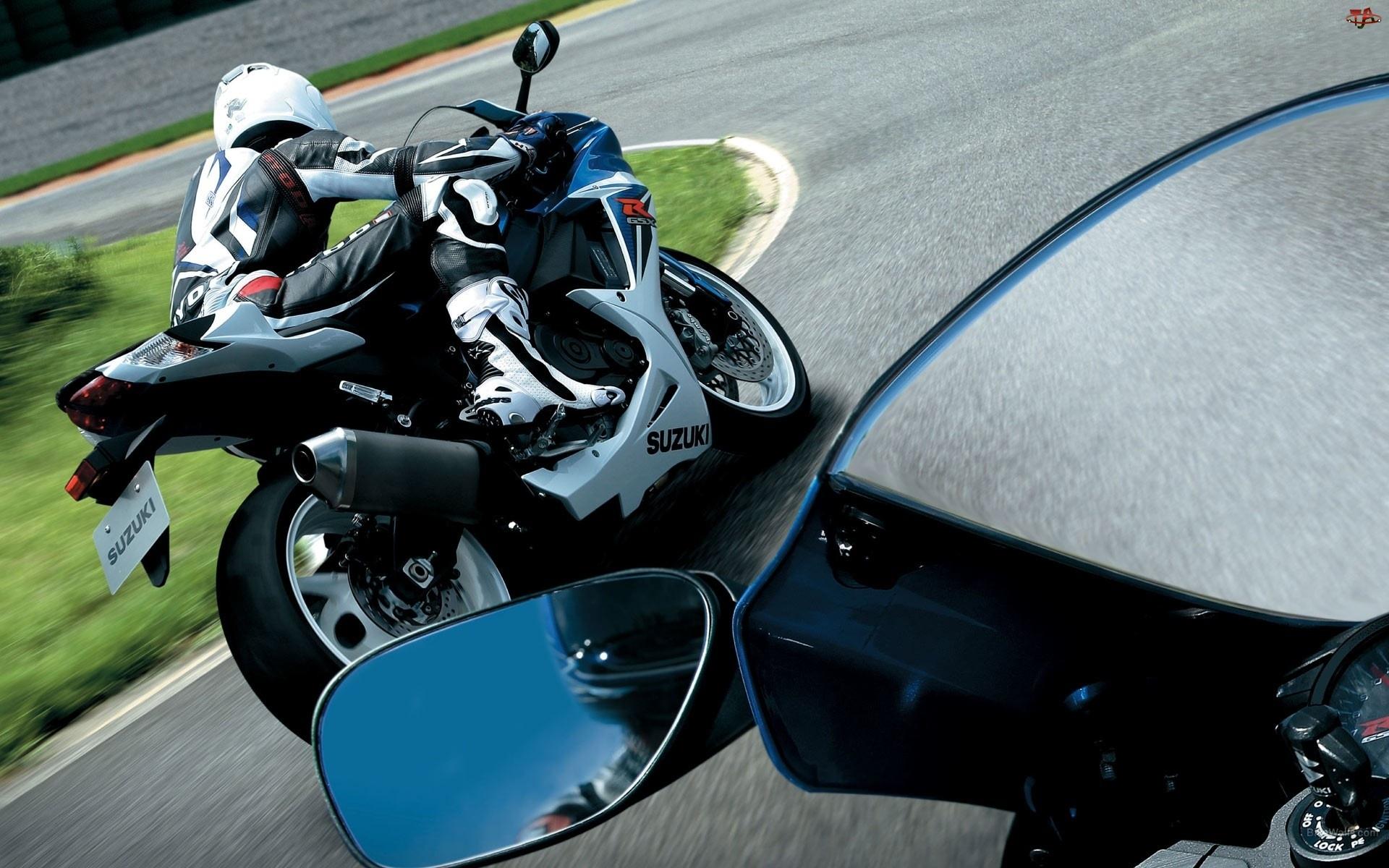 Motocyklista, Motor, Lusterko
